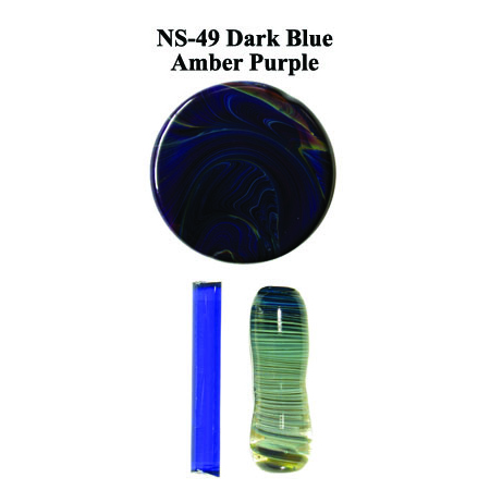Dark Blue Amber Purple Glass Rod (NS-49)