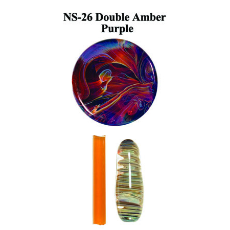 Double Amber Purple Glass Rod & Glass Frit (NS-26)