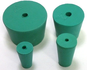 Green Neoprene Rubber Stopper - with Hole